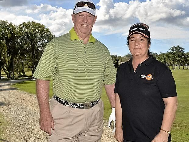 CHARITABLE DAY: Bill Richards and Rose Settembri at Riverlakes Golf Course.